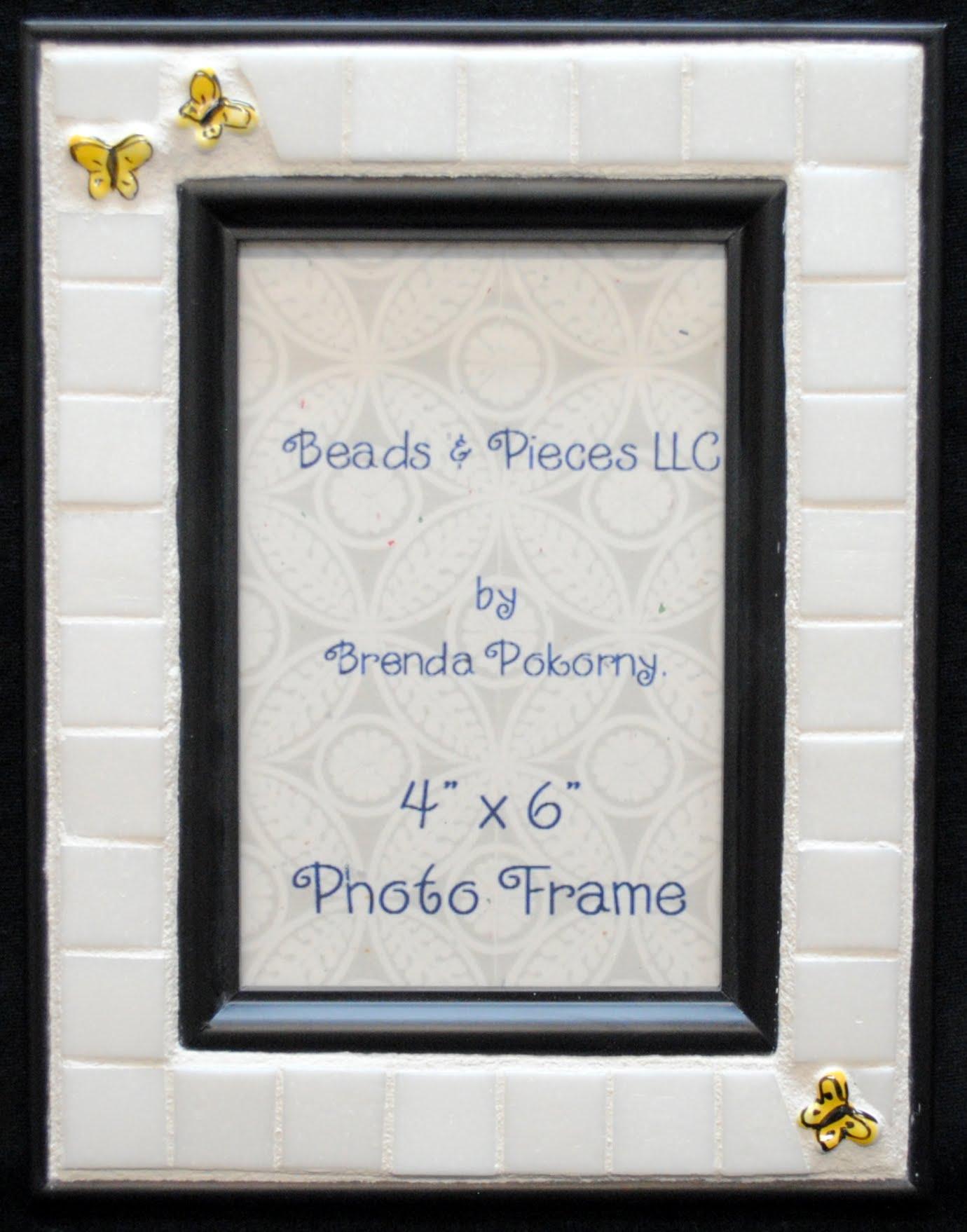 "3 Yellow Butterflies on White 4"" x 6"" Mosaic Photo Frame MOF1246"