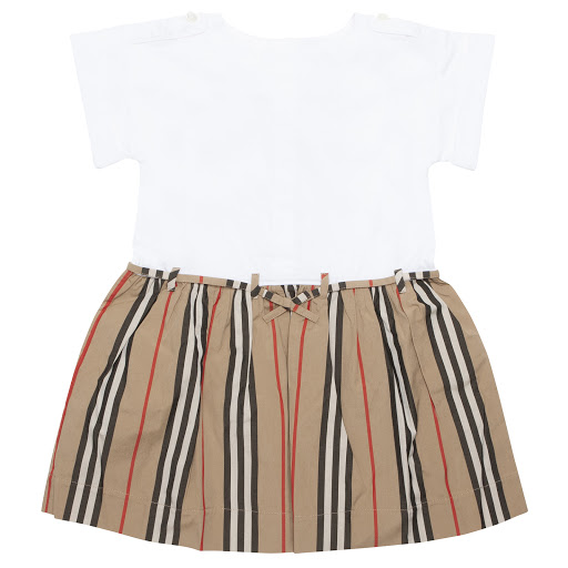 Primary image of Burberry Baby Striped Cotton Dress