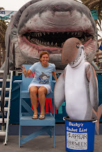 Photo: Dusky and campaign director Dominique Cano-Stocco posing with Sharkzilla. Credit: Chris Panagakis