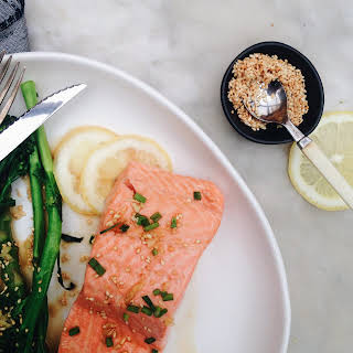 STEAMED OCEAN TROUT WITH SESAME, GINGER AND GREENS.