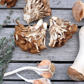 SautéEd Hen of the Woods and King Trumpet Mushrooms with Garlic and Fresh Thyme Recipe