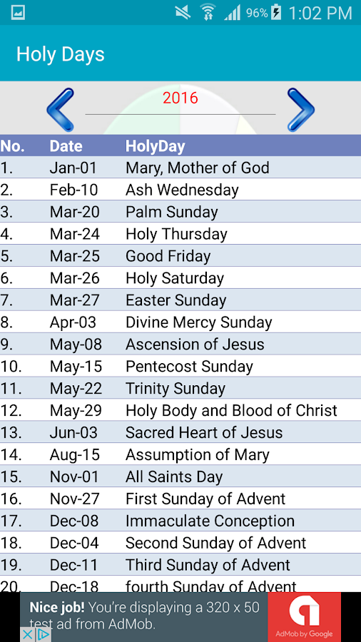 Liturgical Calendar- screenshot