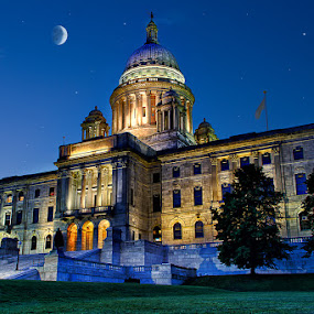 Rhode Island State House by Ian McConnell - Buildings & Architecture Other Exteriors ( moon, hdr, rhode island, state house )