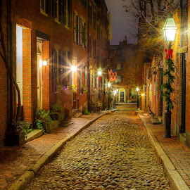 Christmas on Acorn Street by David Long - Public Holidays Christmas ( boston, acorn street, back bay )
