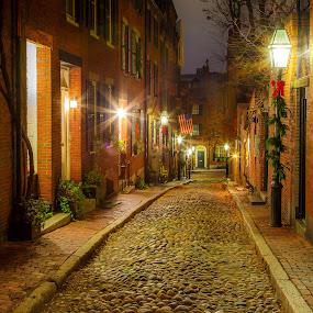 Christmas on Acorn Street by David Long - Public Holidays Christmas ( boston, acorn street, back bay )