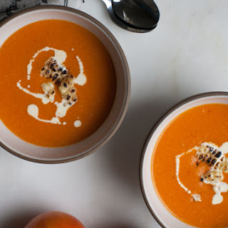 Spicy Roasted Tomato and Corn Soup