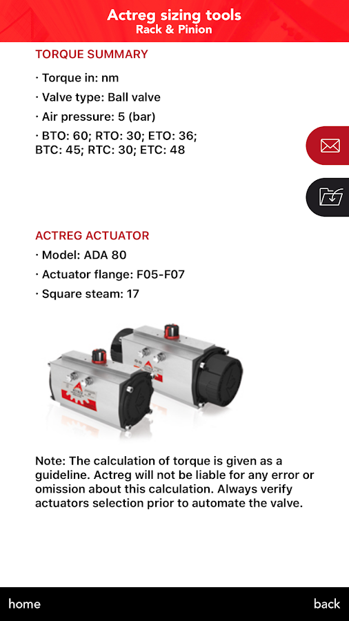 Actreg actuators: captura de pantalla