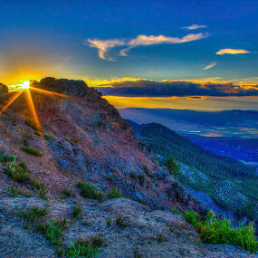 Thompson Peak Sunset by Mike Lee - Landscapes Sunsets & Sunrises ( honey lake valley, janesville, mountain, hdr, nature, northern california, california, sunset, outdoors, summer, susanville, high dynamic range,  )