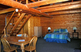 Photo: Inside of one of the larger cabins- Slide Inn