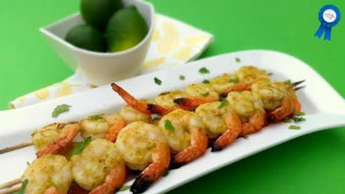 "Grilled Jalapeno and Lime Shrimp Skewer ""With a juicy citrus flavor and..."