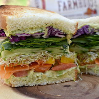 Colorful Veggie Sandwich with Chunky Chickpea Spread.