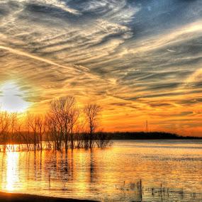 Sunset on the Mississippi River near Memphis by Billy Morris - Landscapes Sunsets & Sunrises ( billy morris,  )
