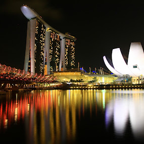 Bridge, Hotel and Museum by ChenLin Kng - Landscapes Travel ( helix bridge, reflections, marina bay sands, long exposure, travel, bridge, singapore )