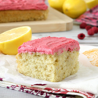 Lemon Snack Cake with Raspberry Frosting