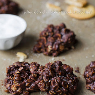 Salted Dark Chocolate Ritz No-bake Cookies.