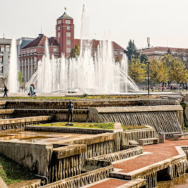 Freedom Square by Richard Michael Lingo - City,  Street & Park  City Parks ( fountain, city, pleven, bulgaria, park )