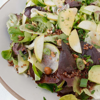 MARKET LETTUCES WITH RED QUINOA AND APPLE CIDER VINAIGRETTE.