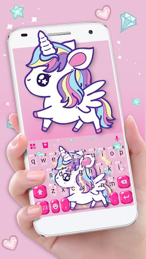 cute pink unicorn keyboard theme screenshot 1