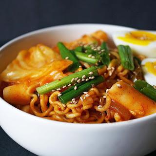 Rabokki - Korean Rice Cakes + Ramen.