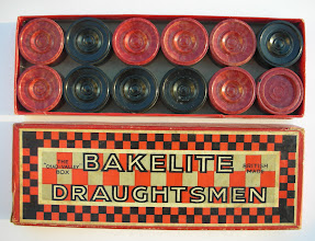 Photo: CH352 Draughtsmen made of Bakelite by Chad Valley  Apart from the material, these pieces (and the box) are identical in design to the firm's Arbonite draughtsmen.  Coming soon: the 'ABC' of  British plastic disk pieces!