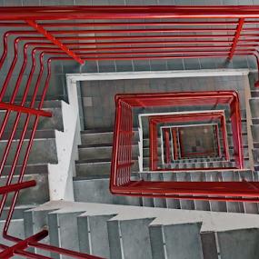 Downward Spiral by Christopher Pischel - Buildings & Architecture Architectural Detail ( parking garage, handrailing, stairs, stairway, winding, steps, spiral )