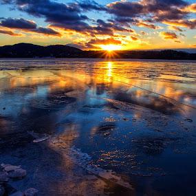 Frozen Sunset by Carolyn Odell - Landscapes Sunsets & Sunrises