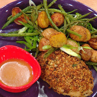 Crispy Bacon Breadcrumb Chicken and Roasted Smoky Green Bean and Potatoes.
