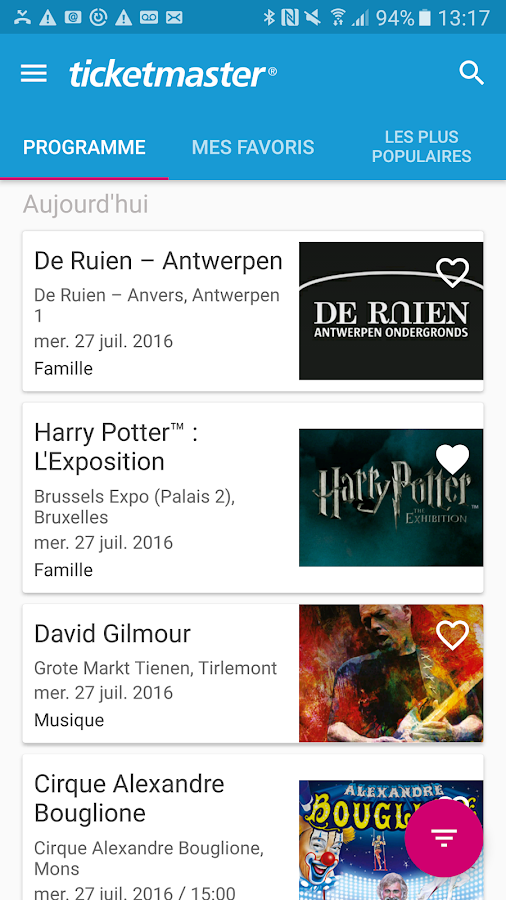 Ticketmaster Belgium- screenshot