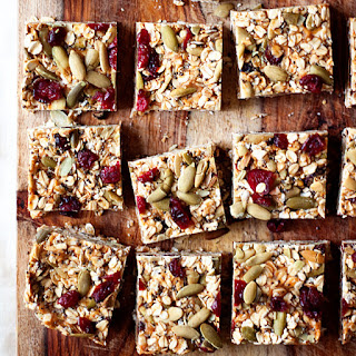 No-Bake Peanut Butter Granola Bars with Dried Cranberries & Pepitas.