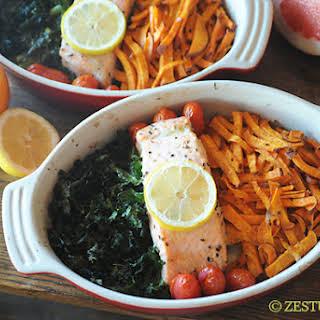 Salmon, Kale & Sweet Potatoes.