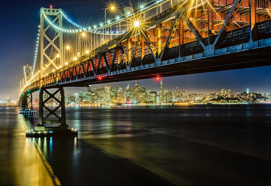Bay Bridge Lights by Aaron Robinson - Buildings & Architecture Bridges & Suspended Structures ( lights, bay bridge, cityscape, san francisco, pwcbridges, nightscape, bridge, , Urban, City, Lifestyle )