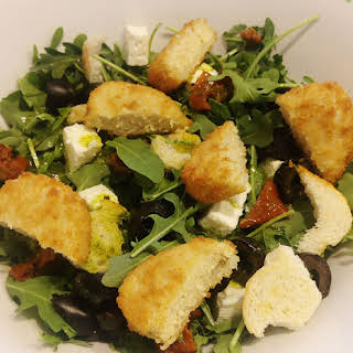 Salad with Fake Chicken Nuggets.