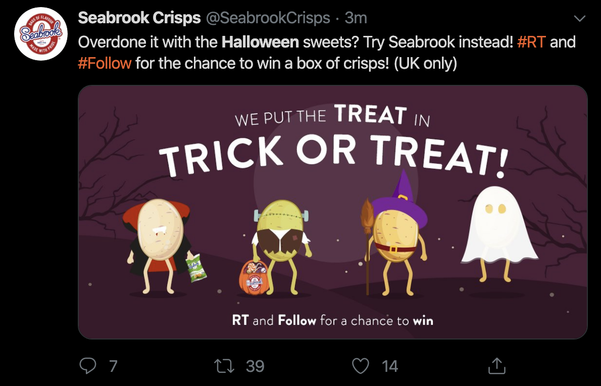 A tweet from Seabrook Crisps themed around Halloween.