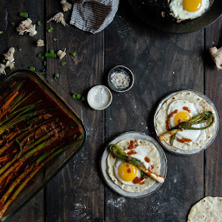 Scallion Kimchi & Fried Egg Tortillas