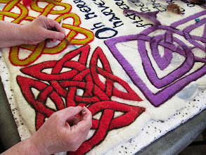 "Photo: the dark borders bring out the detail of hte knotwork showing the ""over & under"" effect typical of Celtic knotwork"