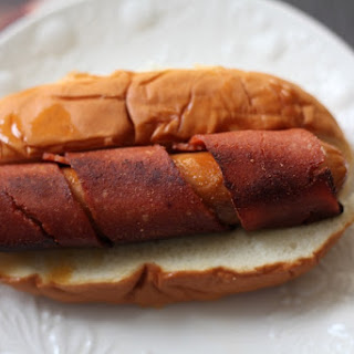 Vegetarian Bacon Wrapped Hot Dogs