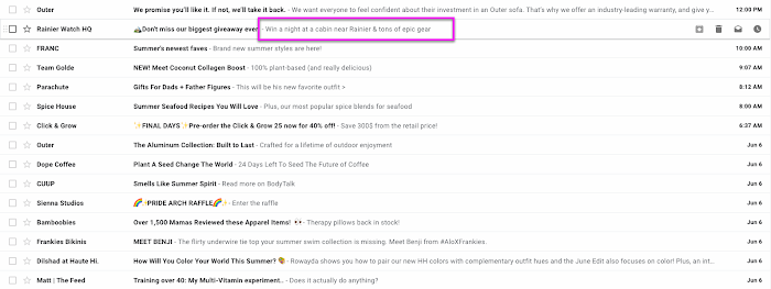 Email inbox with the preheader text after the subject line circled in pink.