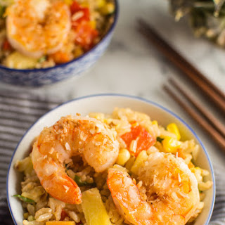 Coconut Pineapple Fried Rice with Shrimp.