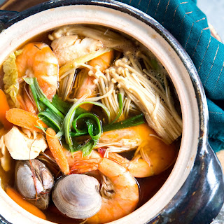 Japanese Donabe Clay Pot Seafood Soup.
