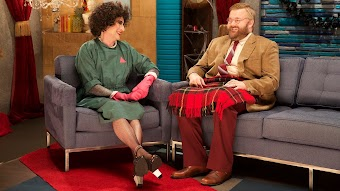 Robert Kirkman Wears a Tan Blazer and Red Suit Pants