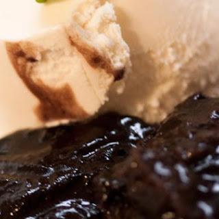 Chocolate Pudding With Vanilla Ice Cream.