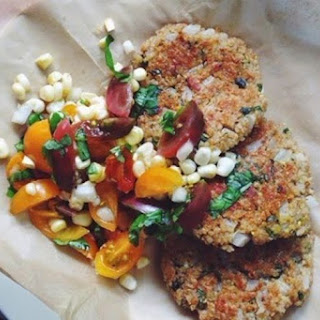 Sweet Onion & Corn Quinoa Fritters with Fresh Corn & Basil Salad.