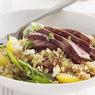 Warm Lamb Couscous with Baby Spinach.