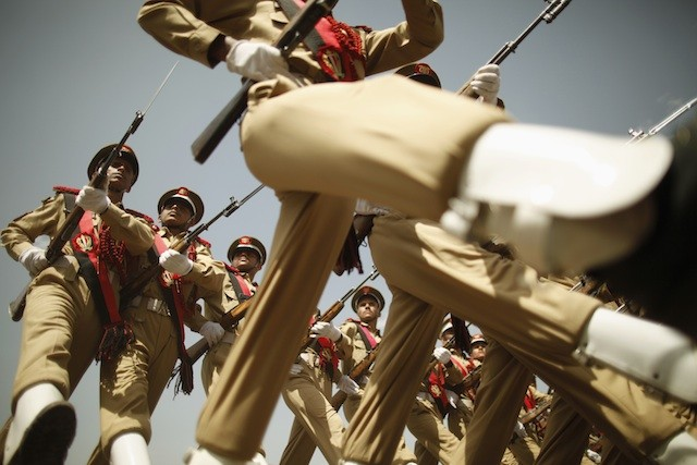 Photo: May 23, 2012: Yemeni soldiers marched in Tuesday's National Day parade, one day after a suicide bomber attacked their rehearsal and killed more than 90 troops. http://bit.ly/zUfrQf