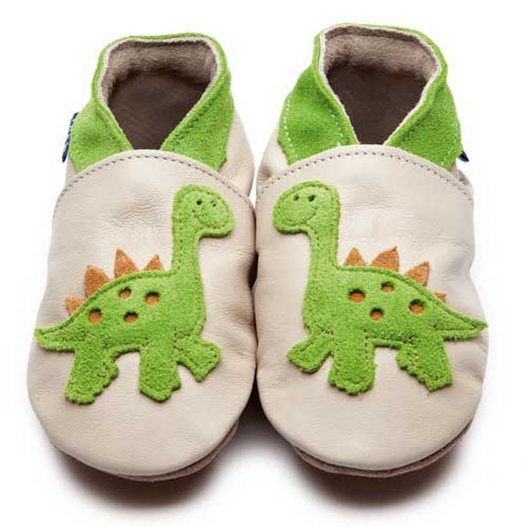 Inch Blue Soft Sole Leather Shoes - Dino Cream Citrus (0-6 months)