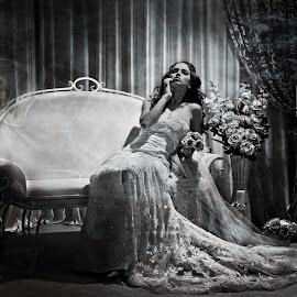 Casablanca by Vlada Jovic - Wedding Bride ( wedding photography, black and white, weddings, wedding, bridal portrait, photographer, wedding dress, wedding photographer, bride, photography, portrait )