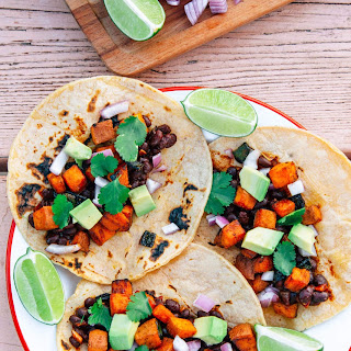 Campfire Tacos with Sweet Potato, Black Beans & Poblano Peppers.