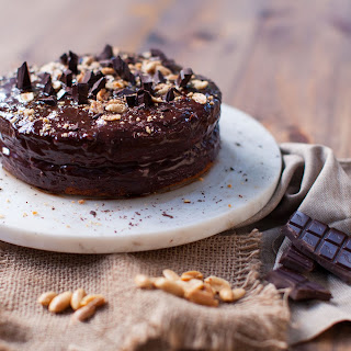 Healthy Banana Cake with Peanut Butter Ganache.