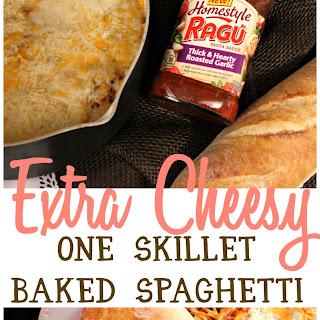 Extra Cheesy One Skillet Baked Spaghetti