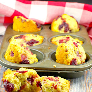 Cranberry Swirl Cornbread muffin.